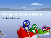 Canoe Penguins Two-Digit Multiplication