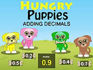 Hungry Puppies Adding Decimals