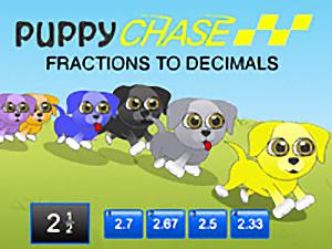 Puppy Chase Fractions to Decimals