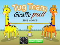 Tug Team Giraffe Pull Time Words