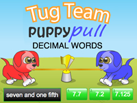 Tug Team Puppy Pull Decimal Words