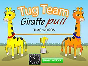 Tug Team Giraffe Pull Time Words