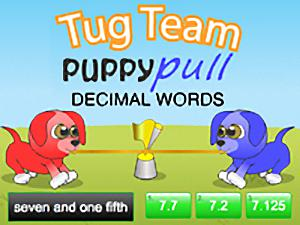 Tug Team Puppy Pull Decimal Words